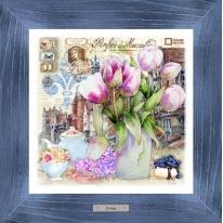 Картина-сувенир «Парфе» 28х28см, рама синяя-патина