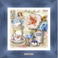 Картина-сувенир «Саварен» 28х28см, рама синяя-патина