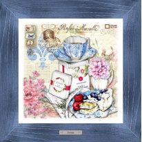 Картина-сувенир «Сен-Жермен» 28х28см, рама синяя-патина