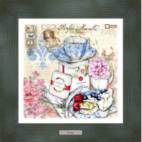 Картина-сувенир «Сен-Жермен» 28х28см, рама зеленая-патина