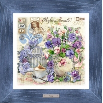 Картина-сувенир «Дебаркадер» 28х28см, рама синяя-патина